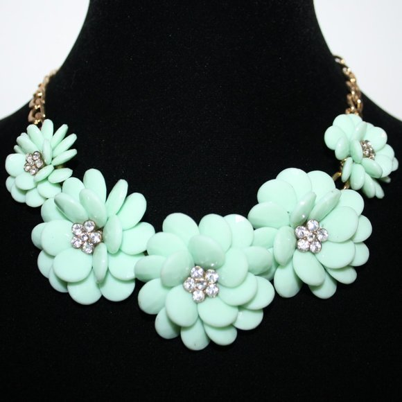 Beautiful gold pastel green and CZ flower necklace